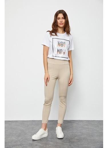 Setre Bej Yüksek Bel Süs Dikişli Fit Pantolon Bej